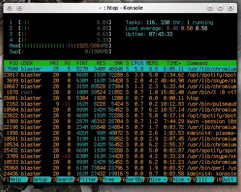 htop in esecuzione su una workstation Linux