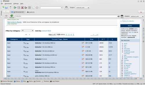 Figura 2. La ricerca è una delle funzionalità più interessanti di KTorrent (fonte: ktorrent.org)