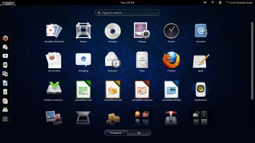 Il desktop di GNOME 3.8 su Fedora 19