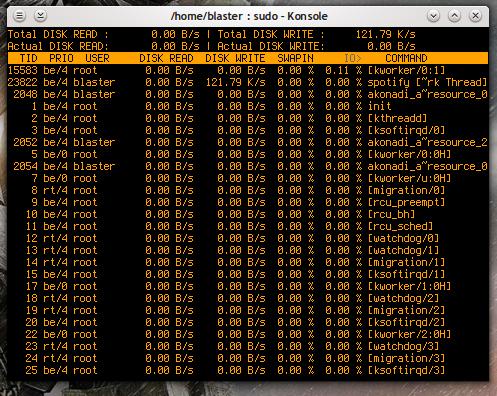 iotop in esecuzione su una workstation Linux