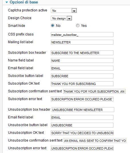 Opzioni di base per l'invio in Mailster