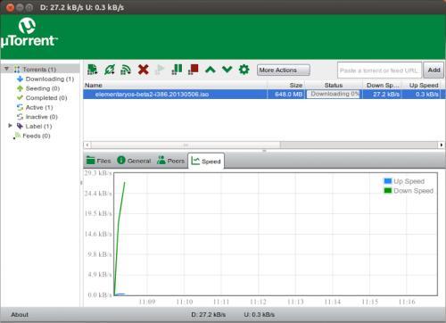 Figura 3. L'interfaccia di µTorrent Alpha per Linux (fonte: www.lffl.org)