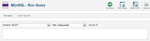 MijoSQL registrazione query