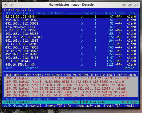 iptraf traccia il traffico di rete su una workstation Linux