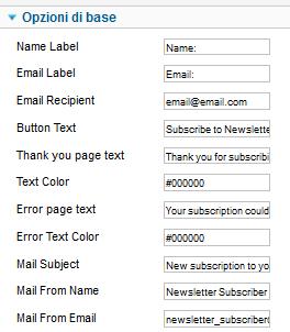 Opzioni di configurazione in Newsletter Subscriver