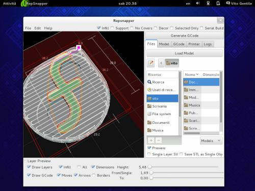 L'interfaccia di RepSnapper sul desktop di Fedora 19