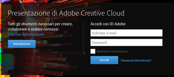 Login sulla Creative Cloud