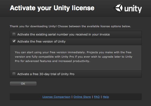 Attivare la lincenza gratuita di Unity