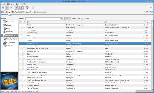 L'interfaccia di Rhythmbox (fonte: projects.gnome.org)