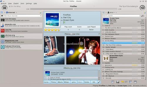 L'interfaccia di Amarok (fonte: www.download3k.com)