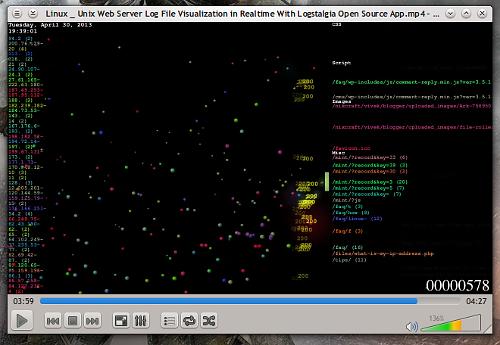 L'output di Logstalgia su VLC