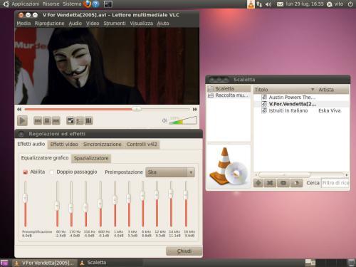 L'interfaccia multifinestra del player VLC