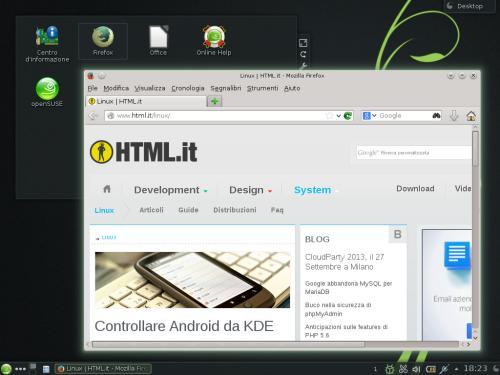 Firefox 22 sul desktop di OpenSUSE 13.1