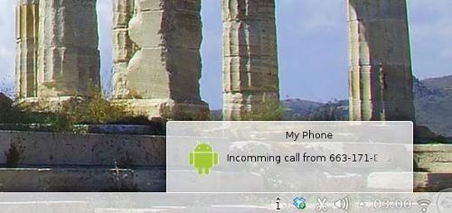 Una notifica che segnala l'arrivo di una chiamata (fonte: oneopensource.it)