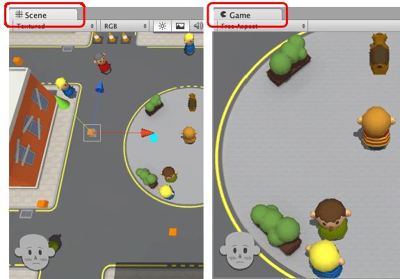 Confornto tra Scene View e Game View