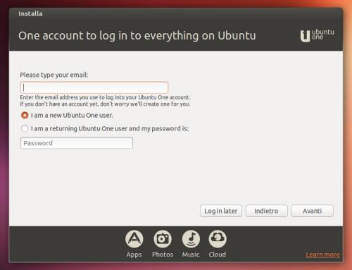 L'accesso ad Ubuntu One è parte integrante dell'installazione di Ubuntu 13.10