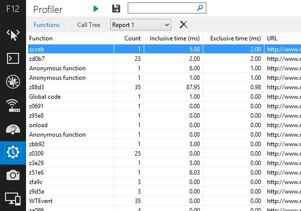 Profiler di Internet Explorer 11