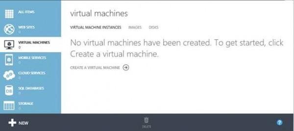 Estratto del portale di gestione, nella sezione dedicata alle Virtual Machines.