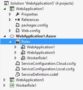 Esempio di progetto wrapper con 3 ruoli (2 web e 1 worker)