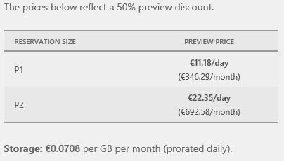 Nel caso di DB premium lo storage viene tariffato a parte ad un costo molto basso, ma ciò che incide sul prezzo è il costo giornaliero di servizio che, per la taglia P1, tocca i 500€ al mese.