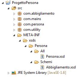 Il progetto aggiornato con gli schemi XML