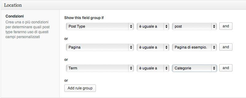 Regole di assegnazione di un gruppo di campi