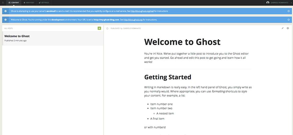 Pannello di controllo di Ghost