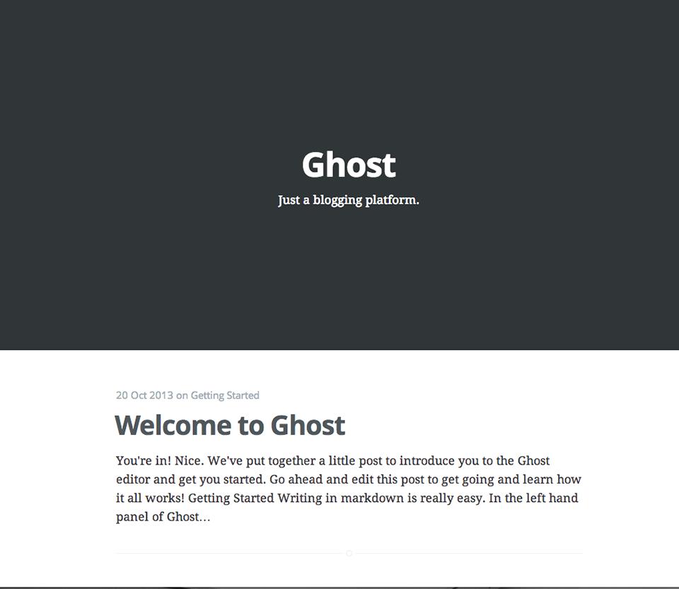 Schermata iniziale di Ghost