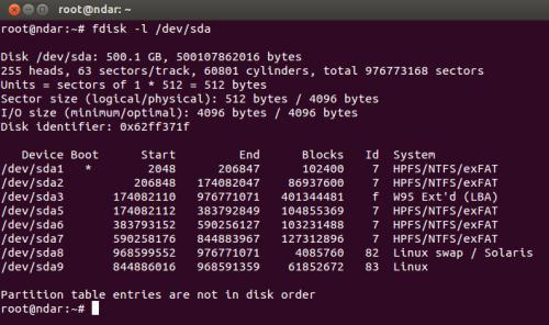 L'output di fdisk sul terminale di Ubuntu