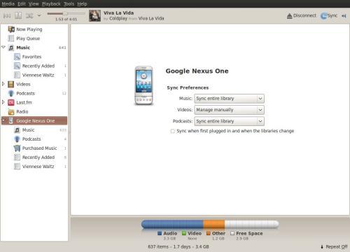 L'interfaccia di Banshee per la gestione dei dispositivi (fonte: www.berkeleylug.com)