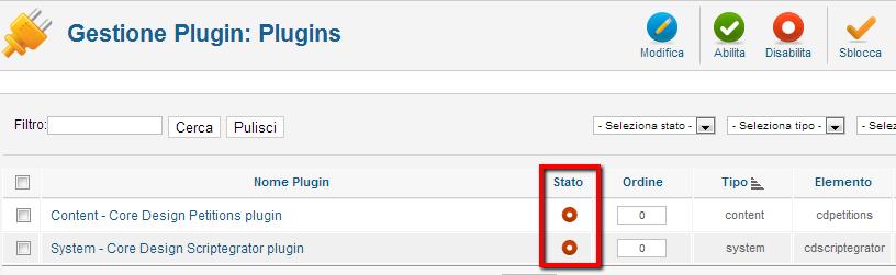 Attivazione dei plugin installati