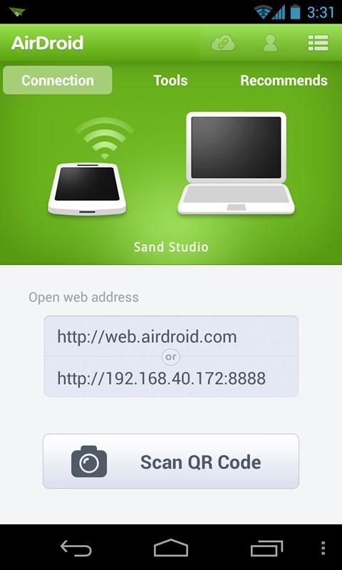 L'interfaccia di AirDroid su Android (fonte: play.google.com)