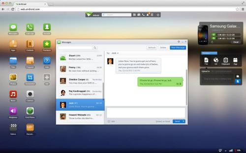 L'interfaccia di gestione del dispositivo con AirDroid tramite PC (fonte: play.google.com)