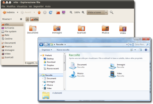 Confronto tra le Raccolte di Windows e le sottordirectory della home su Ubuntu