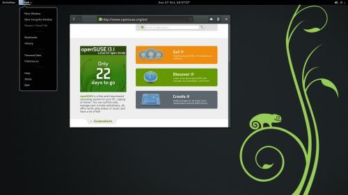 GNOME 3.10 e l'AppMenu del Browser Web su OpenSUSE 13.1 (fonte: opensuse.org)