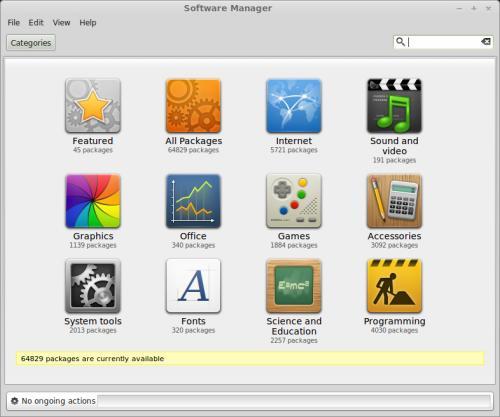 L'interfaccia del Software Manager di Linux Mint 16 (fonte: linuxmint.com)