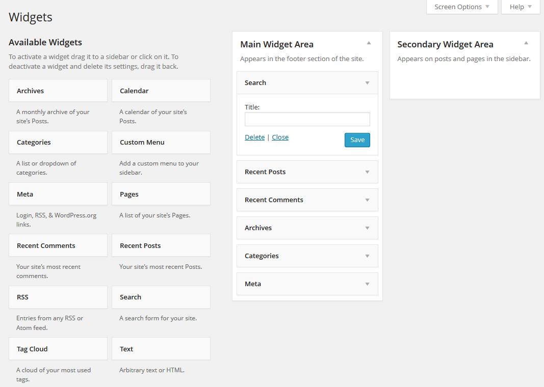 La gestione dei widget