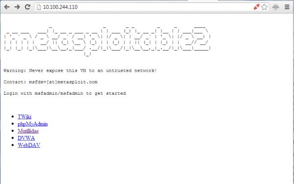 Schermata iniziale di Metasploitable 2