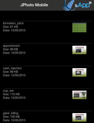 Elenco delle immagini presenti nel dispositivo