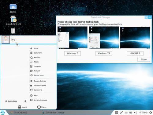 Zorin Look Changer, con il tema di Windows XP selezionato, su Zorin OS