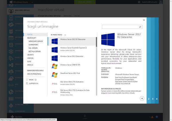 Figura 1 Creazione di una macchina virtuale in Windows Azure