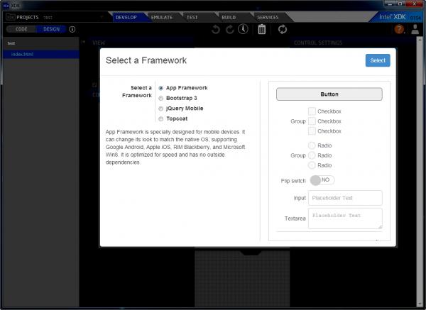 Figura 2 Finestra di dialogo per selezionare un framework per AppDesigner