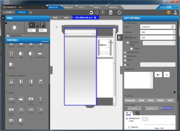 Figura 3 Interfaccia di Intel XDK  New