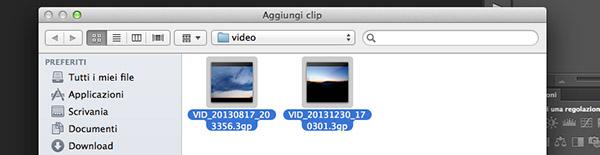 Importazione di video multipli