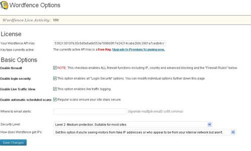 Opzioni per la configurazione di WordFence Security