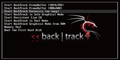 "Boot di Backtrack: la versione ""Forensics"" per l'analisi forense disabilita lo swap (fonte: www.backtrack-linux.org)"