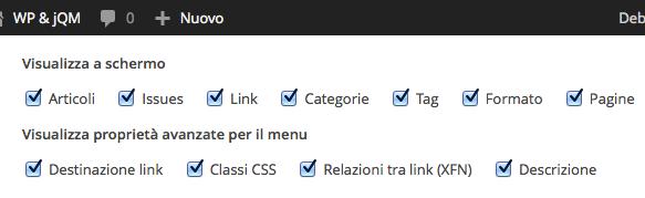 Le impostazioni schermata del pannello di amministrazione dei menu