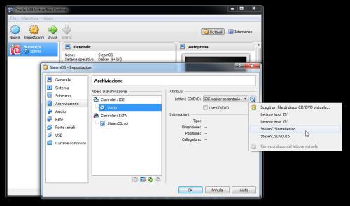 Configurazione di VirtualBox per l'installazione di SteamOS