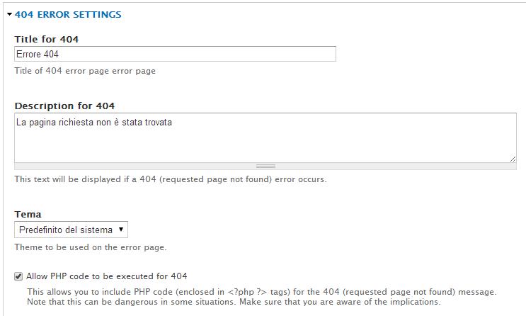 Personalizzazione della pagina di errore 404