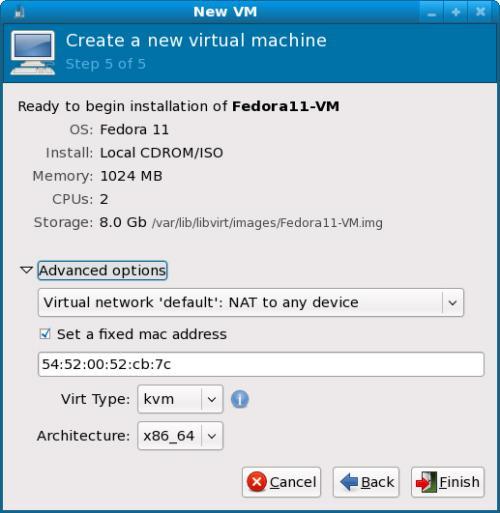 L'ultimo step di creazione della macchina virtuale (fonte: fedorapeople.org)